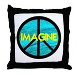 IMAGINE with PEACE SYMBOL Throw Pillow