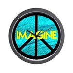 IMAGINE with PEACE SYMBOL Wall Clock