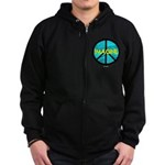 IMAGINE with PEACE SYMBOL Zip Hoodie (dark)
