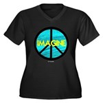 IMAGINE with PEACE SYMBOL Women's Plus Size V-Neck