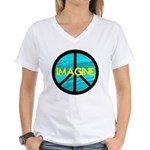 IMAGINE with PEACE SYMBOL Women's V-Neck T-Shirt