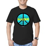 IMAGINE with PEACE SYMBOL Men's Fitted T-Shirt (da