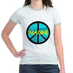IMAGINE with PEACE SYMBOL Jr. Ringer T-Shirt