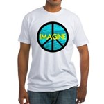 IMAGINE with PEACE SYMBOL Fitted T-Shirt