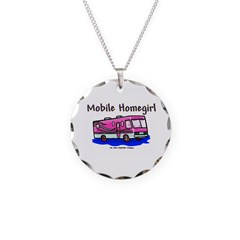 Mobile Home Girl Necklace Circle Charm