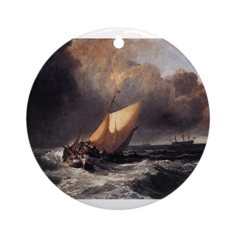 Dutch Boats in a Gale Ornament (Round)
