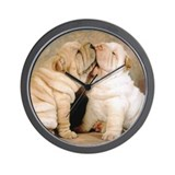 SHAR PEI PUPPY LOVE Wall Clock