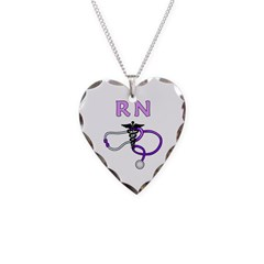 RN Medical Necklace Heart Charm