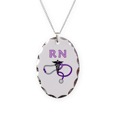 RN Medical Necklace Oval Charm