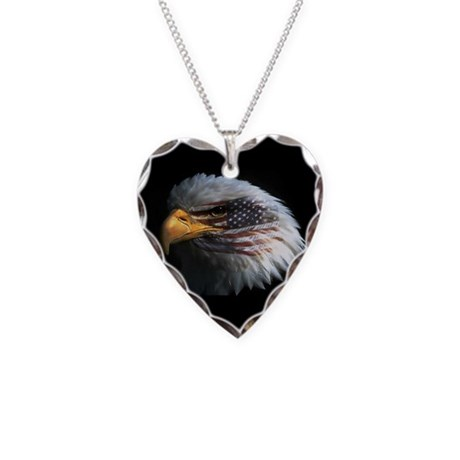 American Flag Eagle Necklace Heart Charm