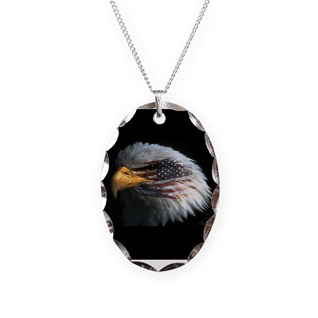 American Flag Eagle Necklace Oval Charm