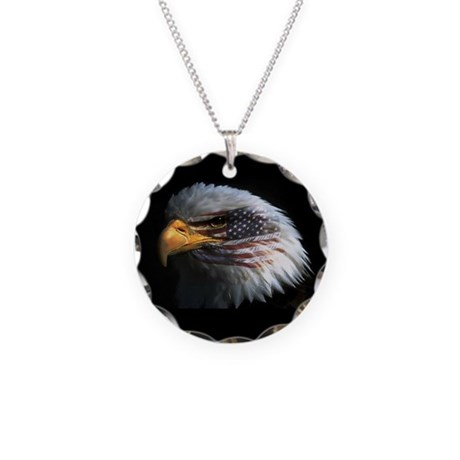 American Flag Eagle Necklace Circle Charm