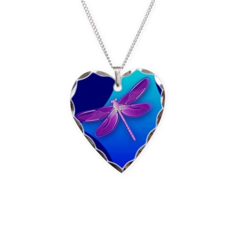 Pretty Dragonfly Necklace Heart Charm