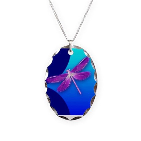 Pretty Dragonfly Necklace Oval Charm