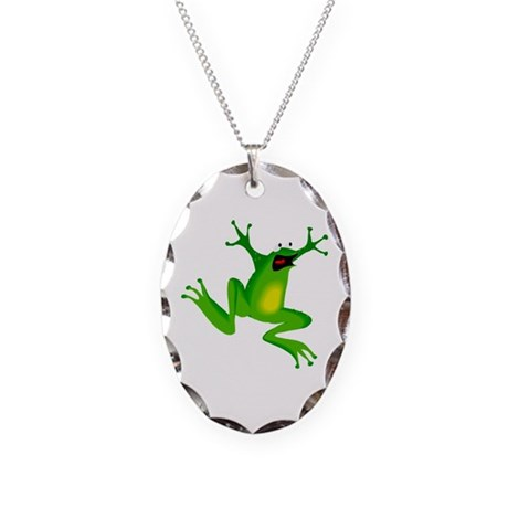 Feeling Froggy Necklace Oval Charm