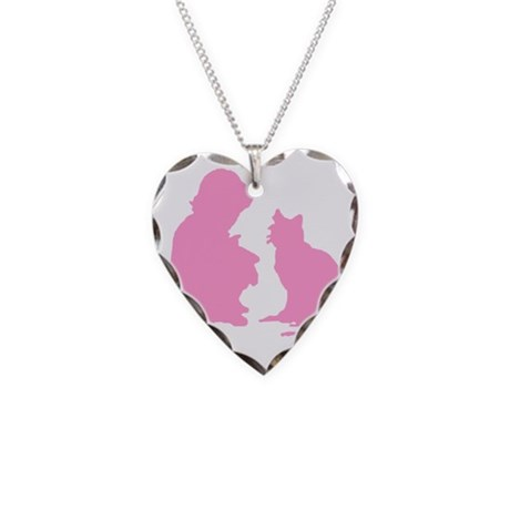 Child and Cat Necklace Heart Charm