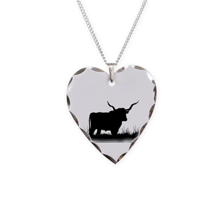 Longhorn Necklace Heart Charm