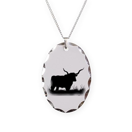 Longhorn Necklace Oval Charm