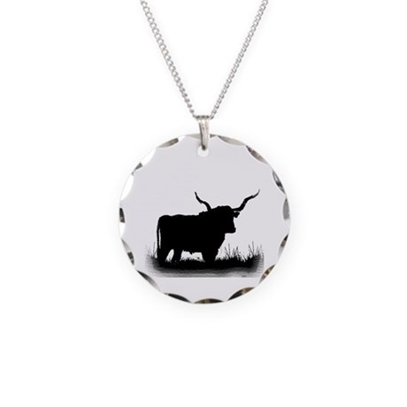 Longhorn Necklace Circle Charm