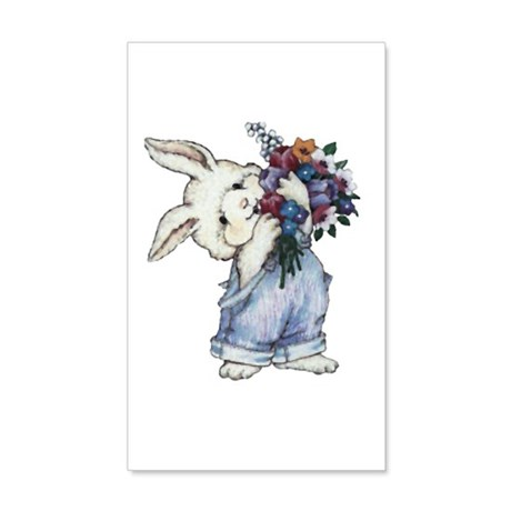 Bunny with Flowers 22x14 Wall Peel