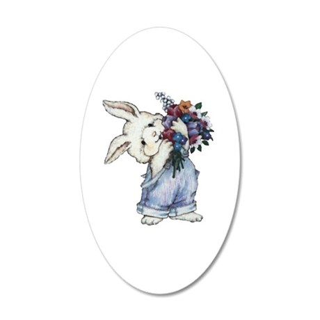Bunny with Flowers 38.5 x 24.5 Oval Wall Peel