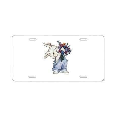 Bunny with Flowers Aluminum License Plate
