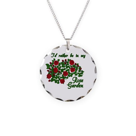 In My Rose Garden Necklace Circle Charm