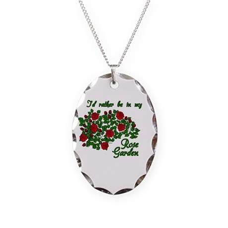 In My Rose Garden Necklace Oval Charm