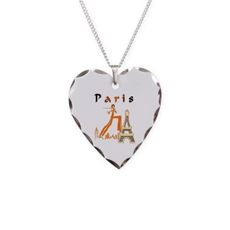 Paris Eiffel Tower Necklace Heart Charm