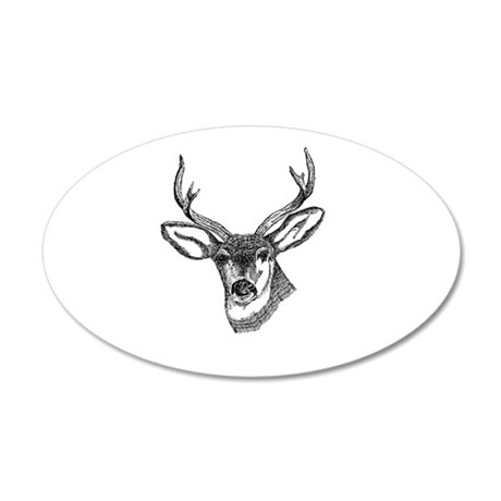 Whitetail Deer 38.5 x 24.5 Oval Wall Peel