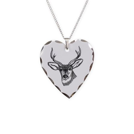 Whitetail Deer Necklace Heart Charm