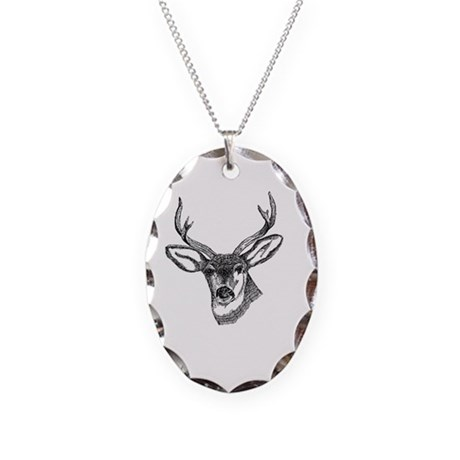 Whitetail Deer Necklace Oval Charm