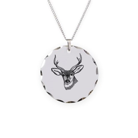 Whitetail Deer Necklace Circle Charm