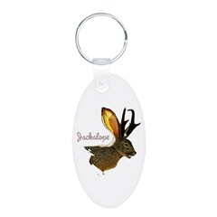 Jackalope Aluminum Oval Keychain