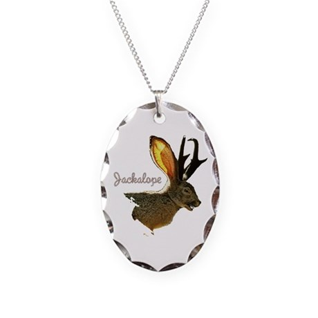 Jackalope Necklace Oval Charm