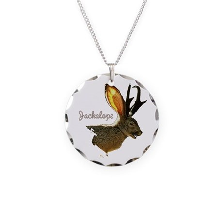 Jackalope Necklace Circle Charm