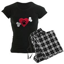 Heart Paw Print Bone Pajamas
