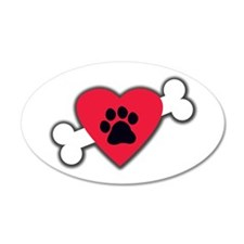 Heart Paw Print Bone 22x14 Oval Wall Peel
