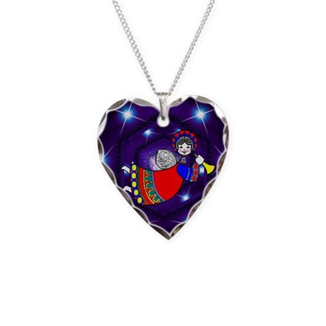 Christmas Angel Necklace Heart Charm