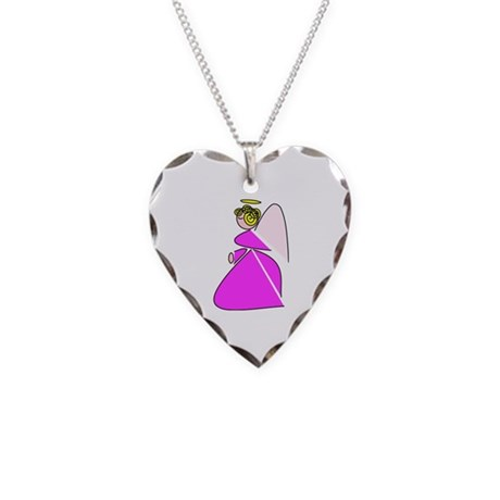 Pretty Angel Necklace Heart Charm
