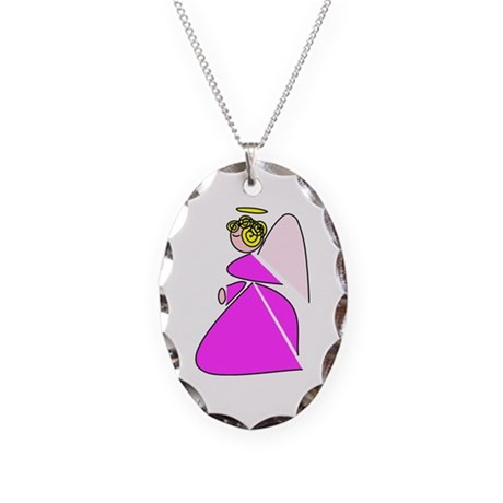 Pretty Angel Necklace Oval Charm