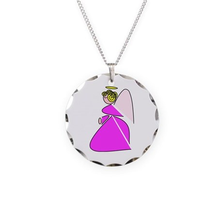 Pretty Angel Necklace Circle Charm