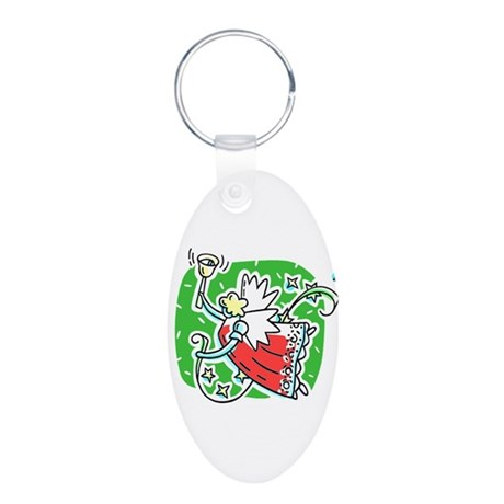 Whymsical Angel Aluminum Oval Keychain