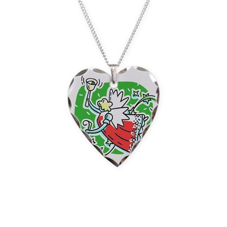 Whymsical Angel Necklace Heart Charm