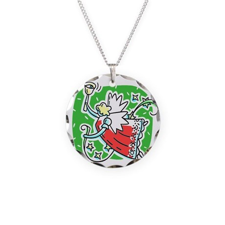 Whymsical Angel Necklace Circle Charm
