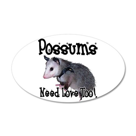 Possums Need Love 38.5 x 24.5 Oval Wall Peel