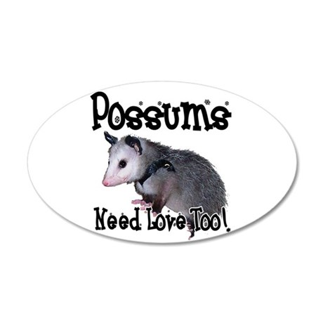 Possums Need Love 22x14 Oval Wall Peel