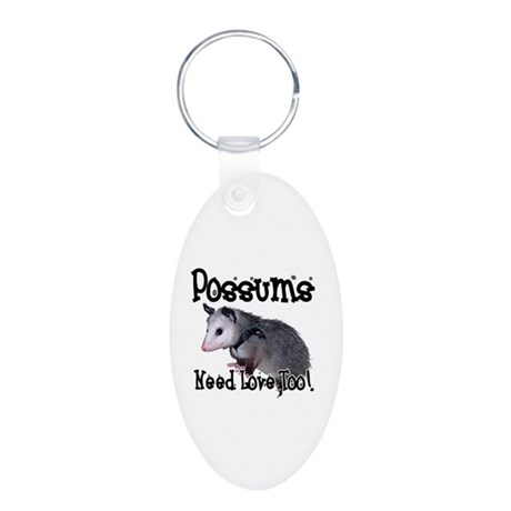 Possums Need Love Aluminum Oval Keychain