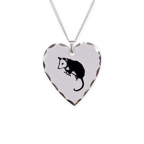 Possum Silhouette Necklace Heart Charm