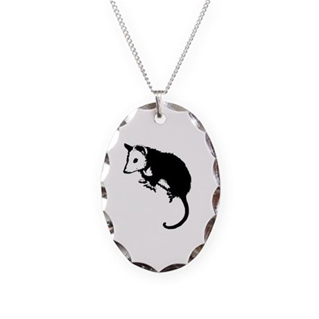 Possum Silhouette Necklace Oval Charm